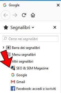 SEO & SEM Magazine: menu a discesa dei segnalibri